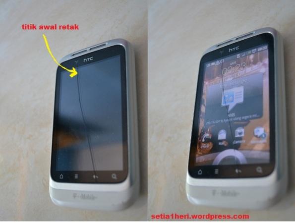layar HTC Wildfire S retak