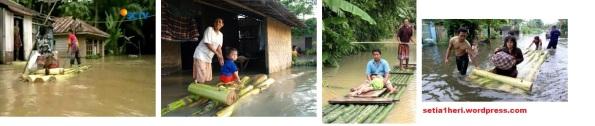 perahu bambu dan perahu pisang saat banjir