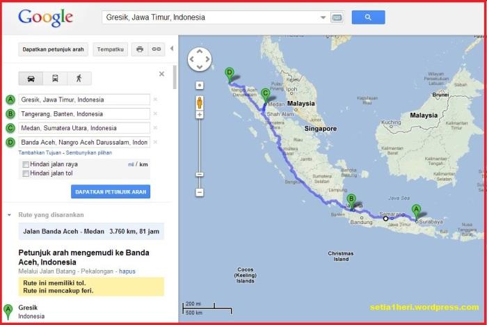 Rute Gresik-Jakarta-Medan-Aceh-Sabang