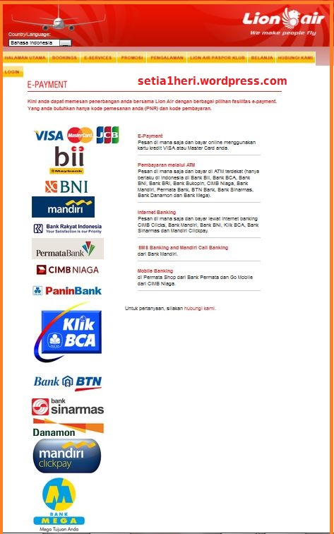 e-payment lion air via ATM BNI