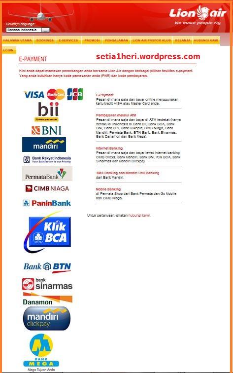 e-payment lion air via ATM BNI