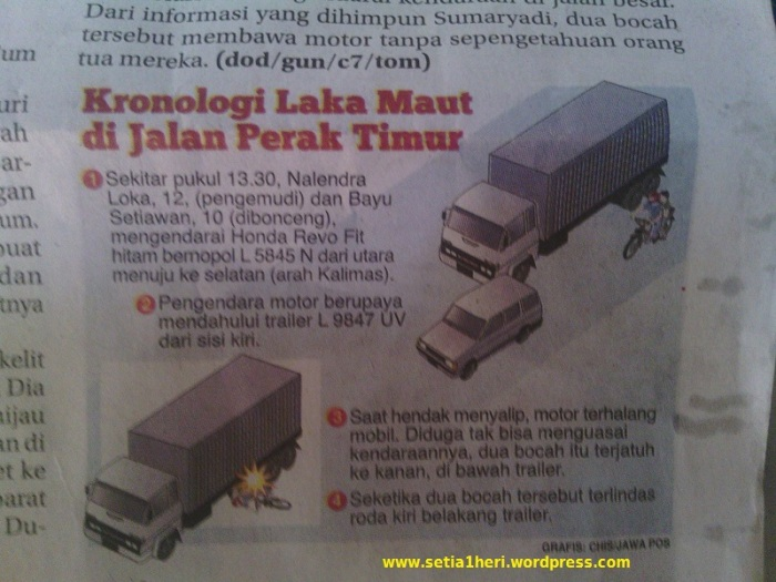 kronologi anak sd terlindas trailer