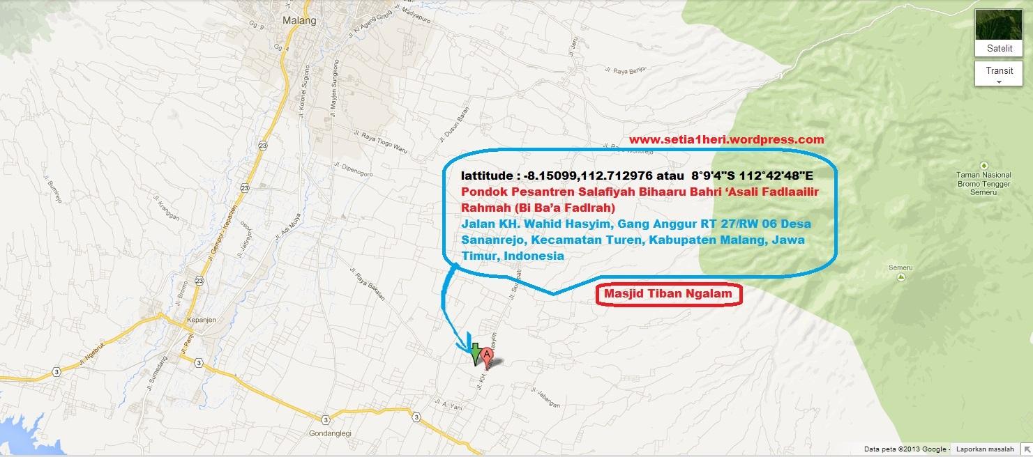 Peta dan latitude Masjid Tiban Turen Malang Jawa Timur