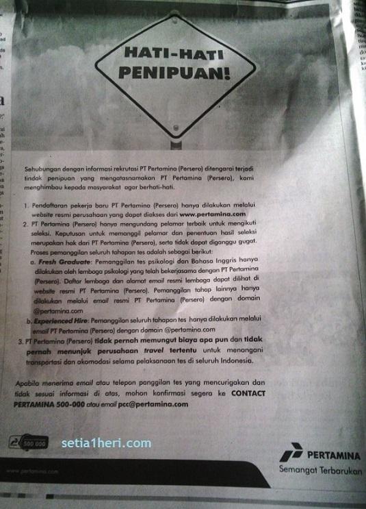 iklan pertamina tentang peringatan penipuan