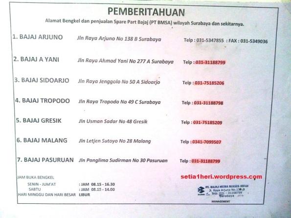 Daftar bengkel Bajaj di Jatim