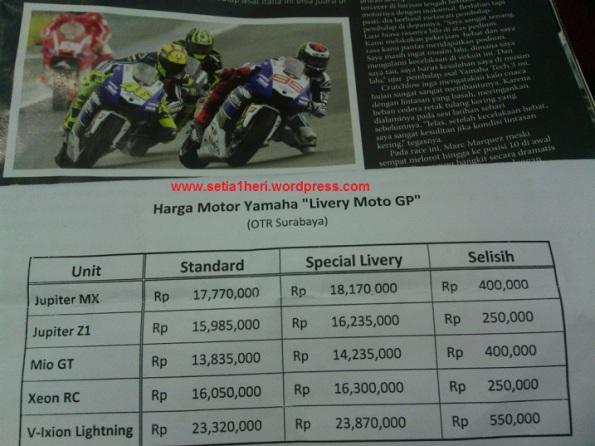 Harga OTR Yamaha Moto GP Livery