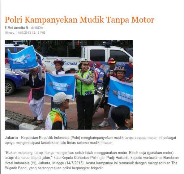 Polri kampanye mudik tanpa sepeda motor