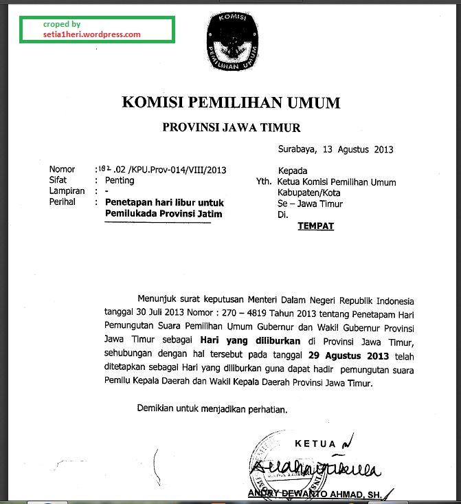 Surat KPU Jatim mengenai hari libur