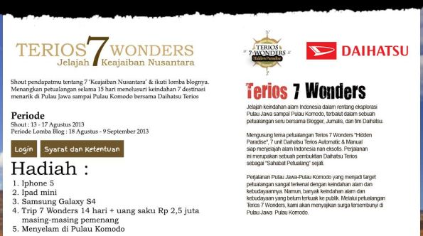 Terios 7 Wonders Hidden Paradise