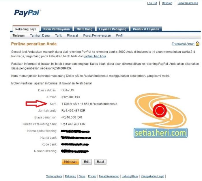 periksa informasi bank di paypal