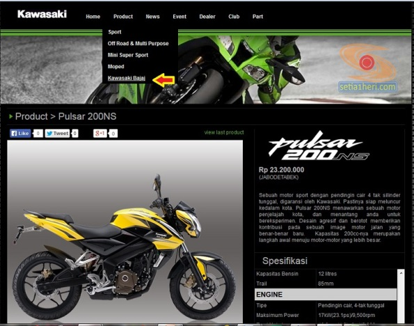 kawasaki bajaj pulsar 200 ns resmi di website kawasaki indonesia copy