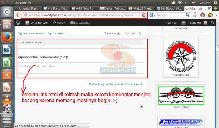setelah di refresh link html nya