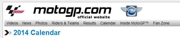 motogp.com 2014 Calendar