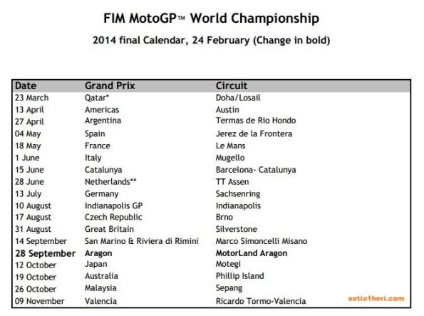 moto gp calendar 2014 update