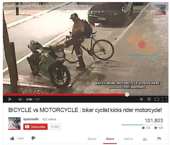 pengendara sepeda menendang motor parkir copy