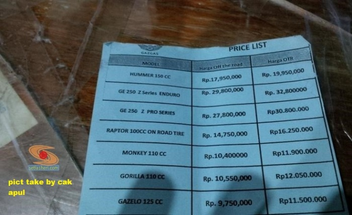 price list gazgas motor area surabaya