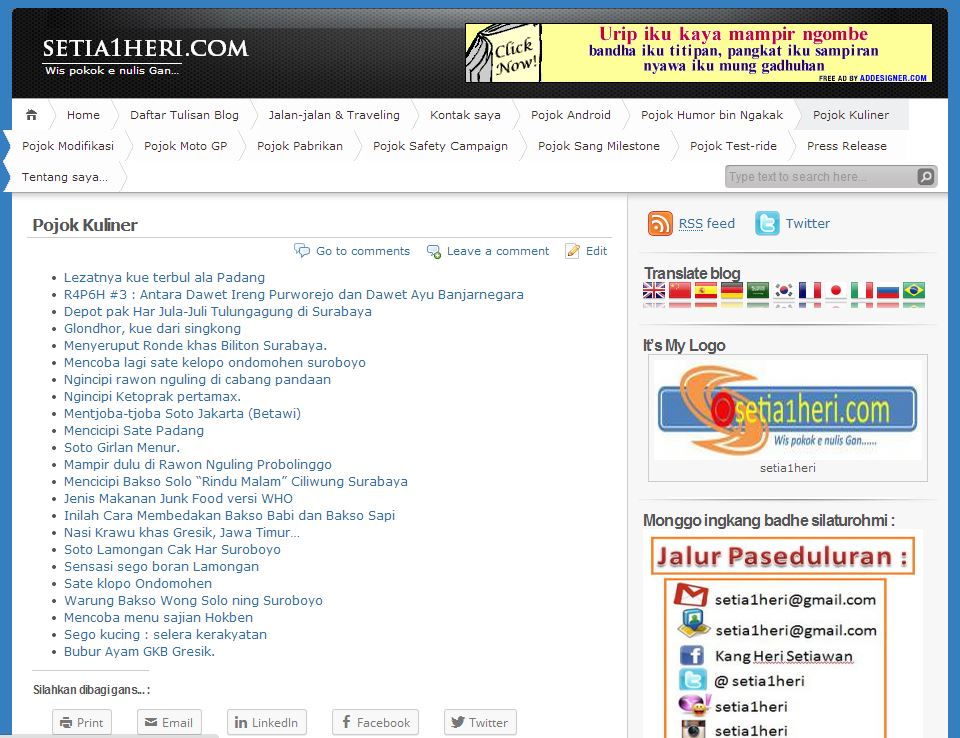 contoh isi list menu di wordpress