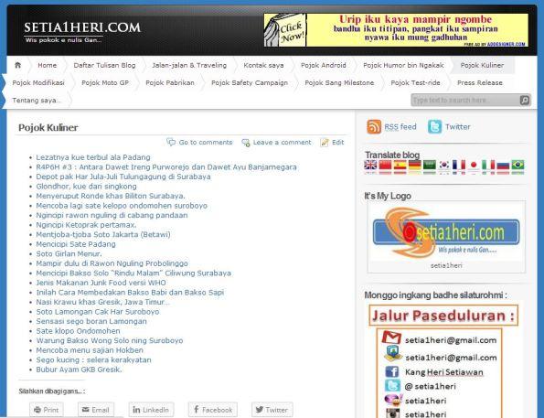 contoh isi list menu di wordpress