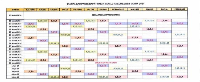 jadwal kampanye nasional pemilu 2014