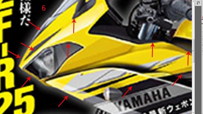 2-posisi fairing depan dari young machine -ada bias warna biru
