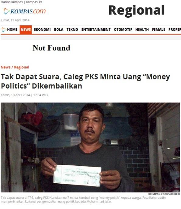 """Tak Dapat Suara  Caleg PKS Minta Uang """"Money Politics"""" Dikembalikan"""