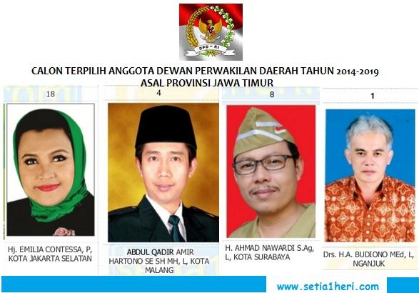 calon terpilih anggota DPD RI tahun 2014-2019 asal Jawa Timur