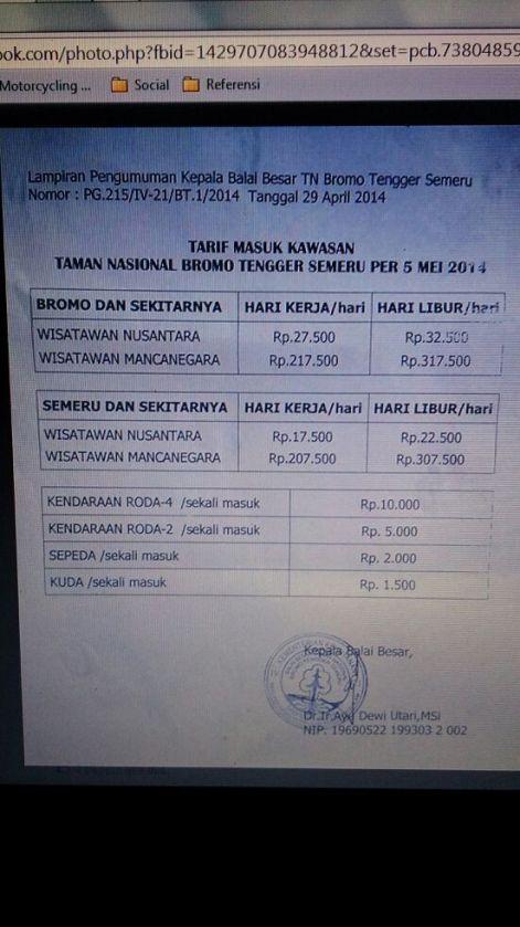 tarif masuk bromo tengger semeru 2014