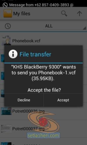 cara transfer kontak dari bb ke android