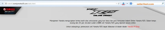 indent online YZF-R25 sudah ditutup