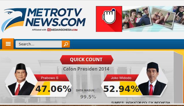 hasil quick count metro tv news pilpres 2014