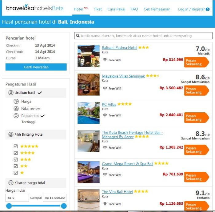 Traveloka hotels booking hotel di Bali