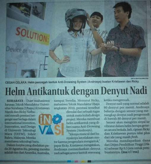 Helm Anti Ngantuk buatan mahasiswa Universitas Surabaya