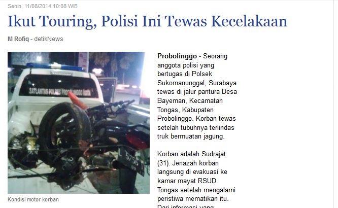 Polisi tewas pulang dari turing