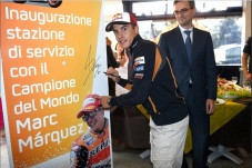 Moto GP Marquez refuels in Corpolo (Italy), on the road to Misano 2014