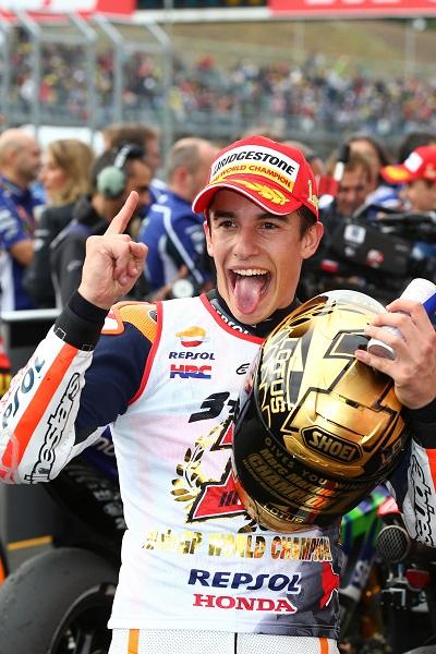 2014 World Champion Marc Marquez celebration in motegi japan