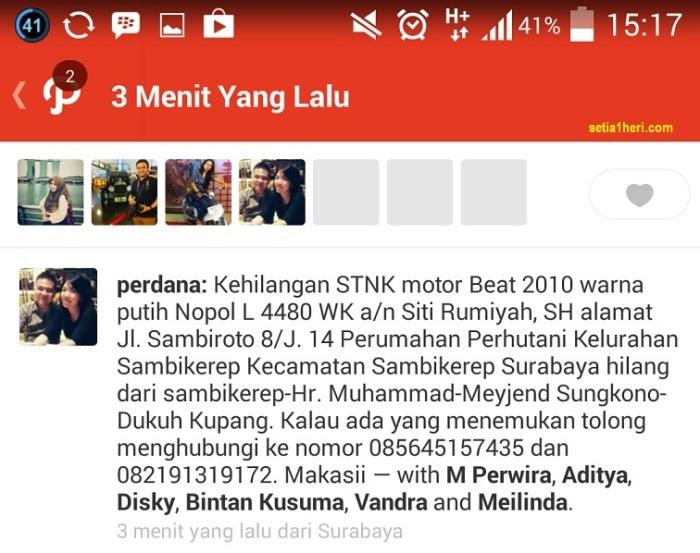Berita kehilangan STNK Honda Beat 2014