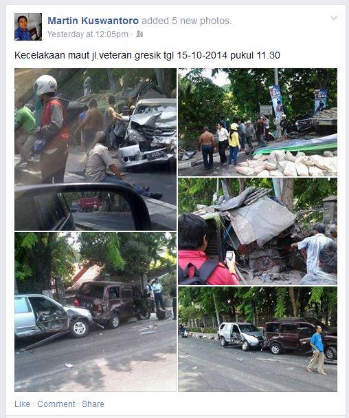 kecelakaan karambol di dekat PT Barata Indonesia Gresik rabu 15 oktober 2014 (1)