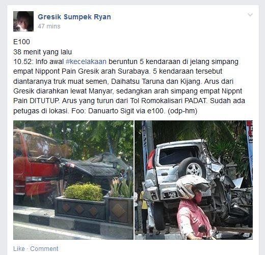 kecelakaan karambol di perempatan veteran gresik rabu 15 oktober 2014 (1)