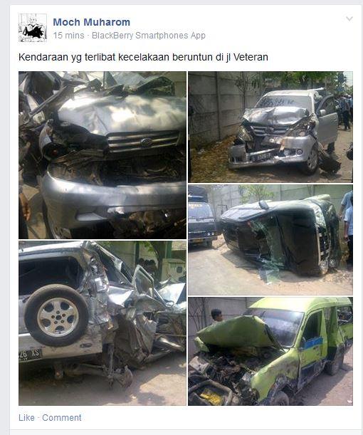 kecelakaan karambol di perempatan veteran gresik rabu 15 oktober 2014 (2)