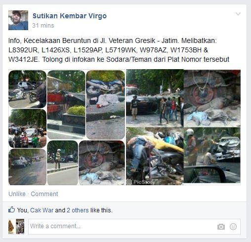 kecelakaan karambol di perempatan veteran gresik rabu 15 oktober 2014 (4)