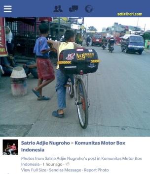 sepeda pancal dengan box antik