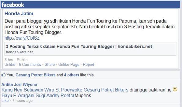 setia1heri menang lomba nulis blog Honda Fun TUring 2014