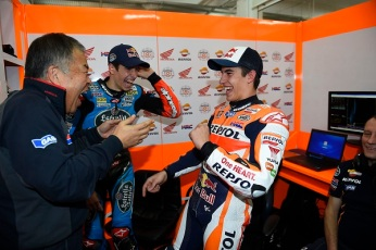 Marquez brothers taking an exhibition ride in valencia post tes