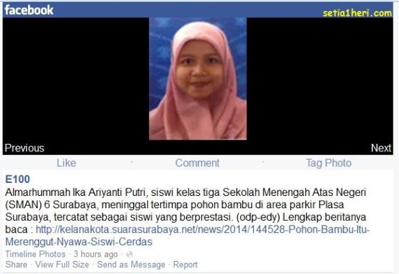 almarhumah Ika Ariyanti Putri siswa SMAN 6 Surabaya