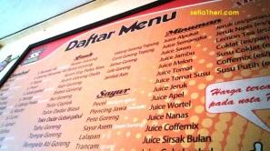 Daftar menu di warung special sambal kediri