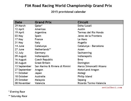 jadwal moto gp 2015