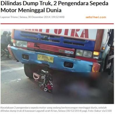 kecelakaan dumptruk dan sepeda motor di legundi gresik 30 Desember 2014