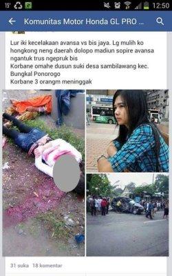 kecelakaan maut TKW di Dolopo Madiun 21 Desember 2014 akibat sopir avanza ngantuk