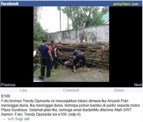 lokasi kejadian tertimpa pohon bambu ika arianti putri di parkiran Delta Plaza Surabaya