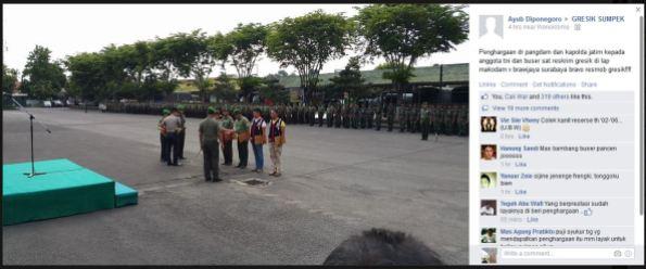 penghargaan dari pangdam dan kapolda jatim untuk TNI-Polisi di gresik 2014